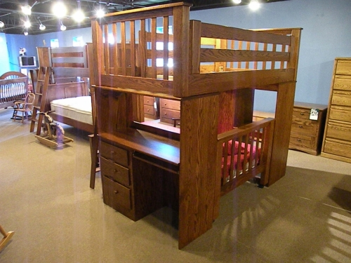 J Miller - Loft Bed with Desk and Lingerie Chest Built In