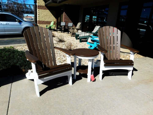 Stationary Adirondacks with Round End Table