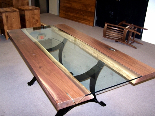 Golden Gate Table with Custom Shell Inlays