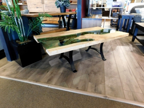 SOLD River Coffee Table with Green Glass
